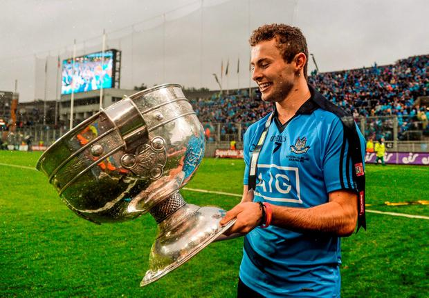 A delighted Jack McCaffrey with the Sam Maguire Cup following Dublin's All-Ireland SFC final victory over Kerry