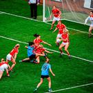 Dublin's Sinéad Goldrick has her shot saved by Cork's Bríd Stack in the final minute of the game