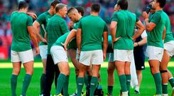 Ireland coach Joe Schmidt speaks to his players prior to the Rugby World Cup match at Wembley