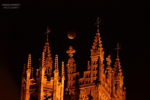 Blood moon taken this morning in Dundalk overlooking St.Patrick's Cathedral Photo: Darran Rafferty