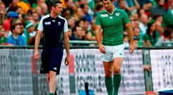 Rob Kearney of Ireland walks along the touchline during the 2015 Rugby World Cup Pool D match between Ireland and Romania at Wembley