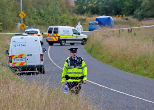 Gardai at the scene this morning where the body of a man with stab wounds was discovered in the early hours of this morning on a roadside near Kilcurry, Dundalk Picture Colin Keegan, Collins Dublin.