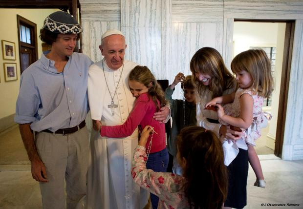 Pope Francis with, Catire Walker, left, Noel Zemboiran, second from right, and their children, from left, Cala, Dimas, Mia and Carmin during a meeting at the Saint Charles Borromeo Seminary, in Philadelphia Credit: Osservatore Romano/Pool Photo via AP