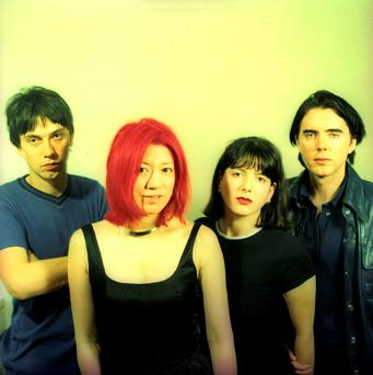 English rock band Lush (L - R) bassist Phil King, vocalist/guitaristMiki Berenyi, guitarist Emma Anderson and drummer Chris Acland pose for a July 1996 portrait in New York City, New York. Photo by Bob Berg/Getty Images