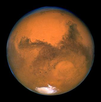 The planet Mars is seen in an image from NASA's Hubble Space