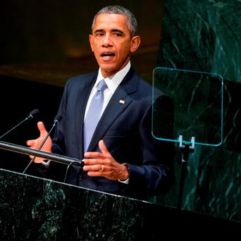 President Barack Obama speaks before the 70th Session of the United Nations General Assembly at the United Nations headquarters. (AP Photo/Andrew Harnik)