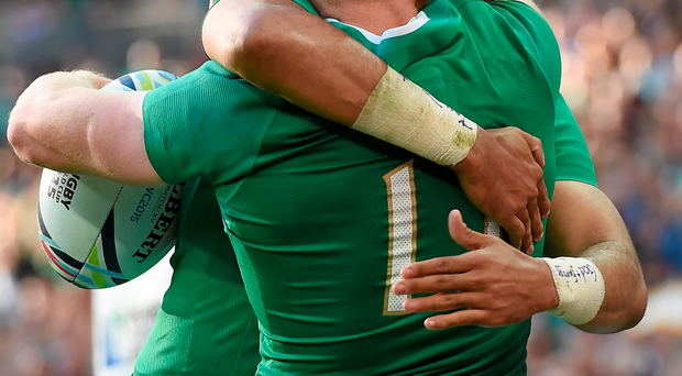 27 September 2015; Keith Earls, Ireland, is congratulated by team-mate Simon Zebo after scoring his side's second try. 2015 Rugby World Cup, Pool D, Ireland v Romania, Wembley Stadium, Wembley, London, England. Picture credit: Brendan Moran / SPORTSFILE