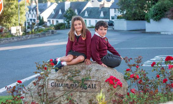 Sean (6) and Megan Doyle (7), grandchildren of the Clonegal Tidy Towns chairman John Dunne