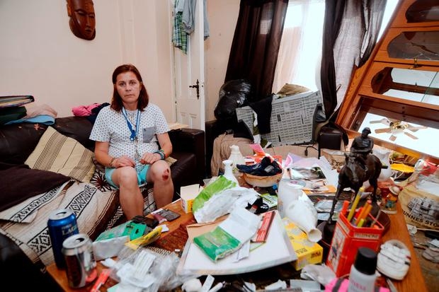 Rachel O'Byrne pictured in her ransacked home