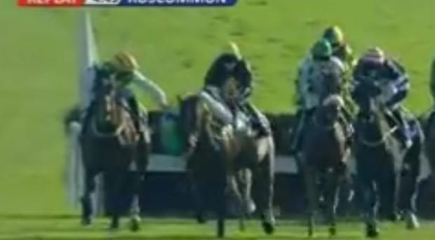 Danny Mullins notices that his fellow jockey is about to be unseated