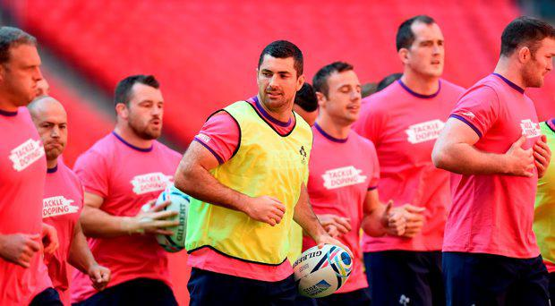 Ireland's Rob Kearney (centre) during the Captain's Run at Wembley Stadium, London