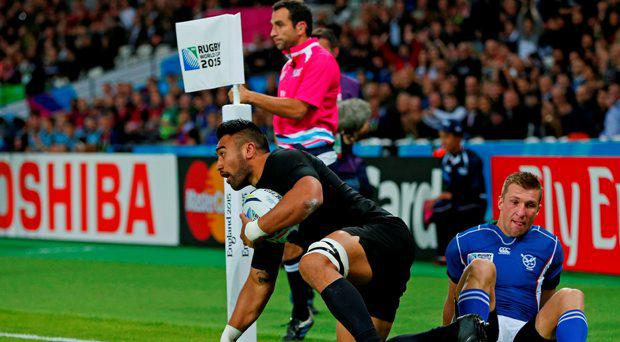 Victor Vito after scoring the first try for New Zealand
