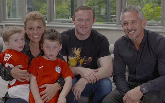 Wayne Rooney with wife Coleen, his two sons and Gary Lineker who presents documentary on England striker Photo: BBC Pictures' Digital Picture Service