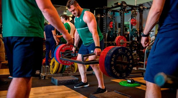 Ireland's Cian Healy during a gym session.