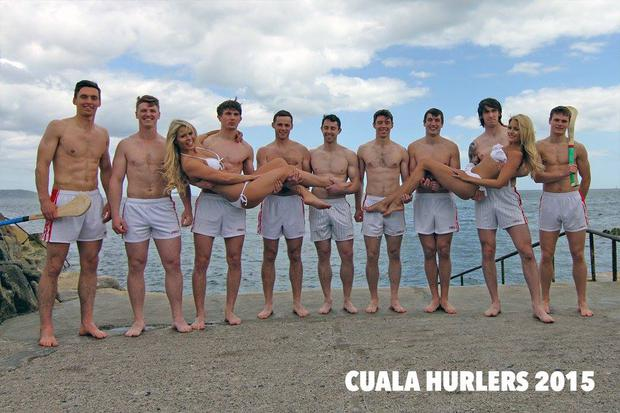 Members of the Cuala senior hurling club in Dublin who are raising money to fund their championship costs