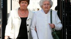 Anne Claxton, leaving court with her mother Anne Rudd (right) today after Anne appeared before the Dublin District Court. Pic: Paddy Cummins/PCPhoto.ie