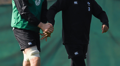 19 March 2015; Ireland's Devin Toner, left, and Simon Zebo during squad training. Carton House, Maynooth, Co. Kildare. Picture credit: Stephen McCarthy / SPORTSFILE