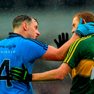 Dublin defender Philly McMahon and Kerry corner-forward Colm Cooper in conversation after the final whistle in the All-Ireland football final