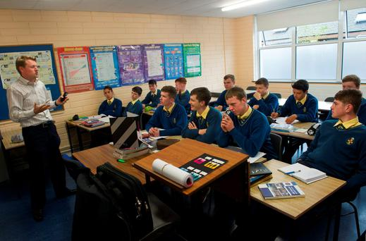 Fifth year students learn about the workplace with tutor John Lynch, at CBS Thurles.