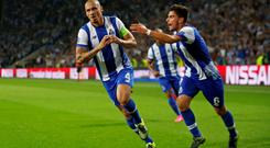 Porto's Maicon celebrates scoring their second goal