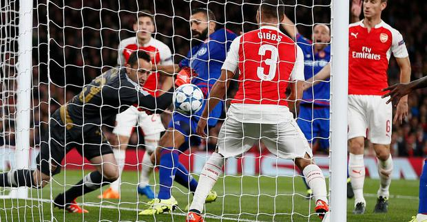 Arsenal goalkeeper David Ospina conceded an own goal against Olympiakos in tonight's Champions League encounter at the Emirates.