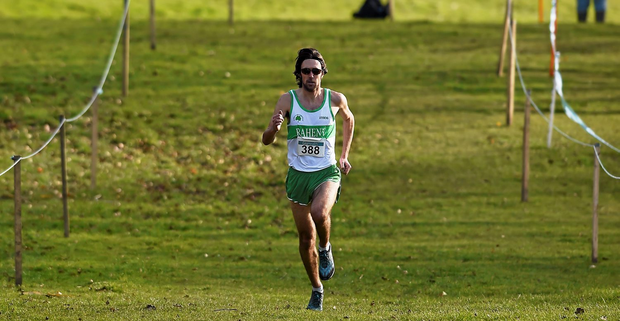 1 March 2015; Mick Clohisey, Raheny Shamrock A.C., on his way to wining the Men's Senior 12,000m during the GloHealth Inter Club & Inter County Relay Cross Country Championships. Kilbroney Park, Co. Down. Picture credit: Paul Mohan / SPORTSFILE
