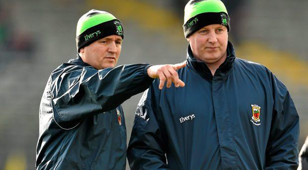 Joint Mayo managers Pat Holmes, left, and Noel Connelly