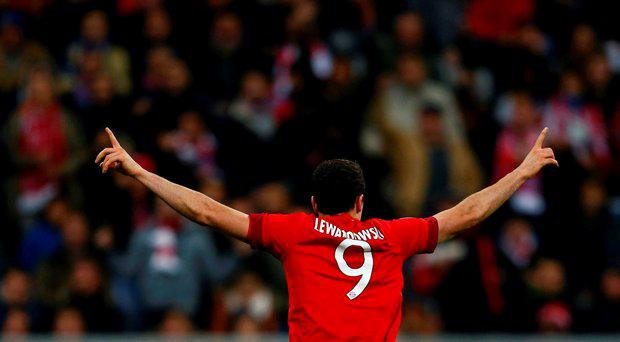 Bayern Munich's Robert Lewandowski celebrates after scoring a goal against Dinamo Zagreb during their Champions League Group F soccer match in Munich, Germany, September 29