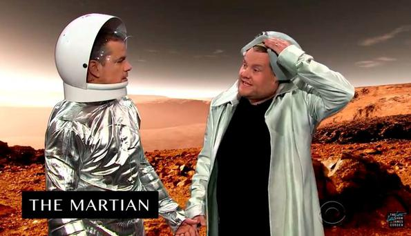 Matt Damon and James Corden re-enact Damon's entire movie CV in 8 minutes