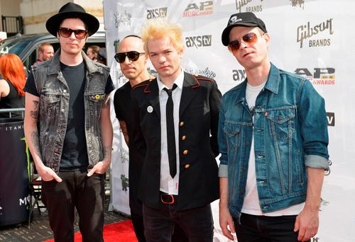 CLEVELAND, OH - JULY 22: (L-R) Cone McCaslin, Frank Zummo, Deryck Whibley, and Tom Thacker of Sum 41 attend the 2015 Journeys AP Music Awards