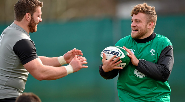 Ireland's Ian Madigan and Sean O'Brien during squad training. Carton House, Maynooth, Co. Kildare. Picture credit: Matt Browne / SPORTSFILE