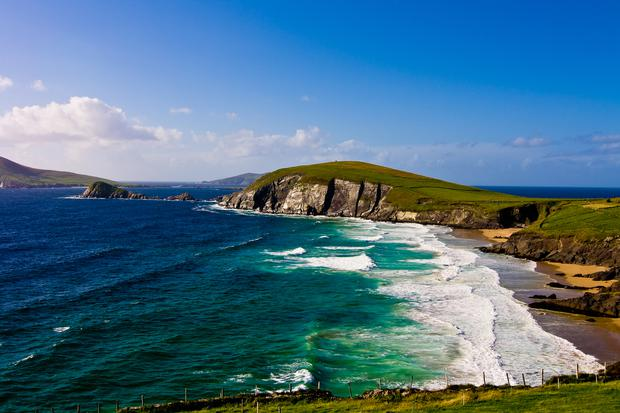Scenic landscape by sea on Dingle Peninsula in Ireland