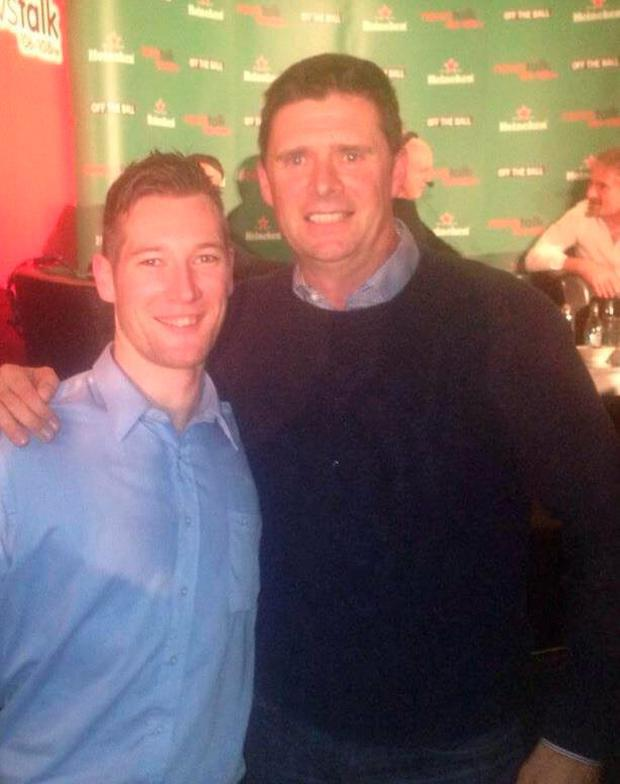 Stefan Connolly (L) with former Ireland soccer star Niall Quinn Credit: Facebook