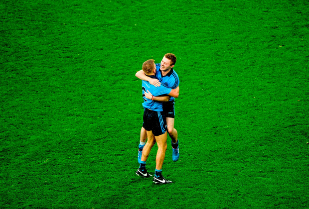 Jonny Cooper and Jack McCaffrey celebrate after winning the All-Ireland SFC Final against Kerry