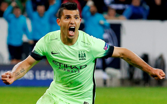 Sergio Aguero celebrates scoring Man City's second goal from the penalty spot