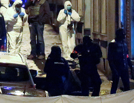 Police and forensics teams in Verviers after two men were killed during an anti-terrorist operation earlier this year
