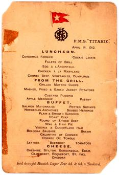 The Titanics last lunch menu (Lion Heart Autographs via AP, File)