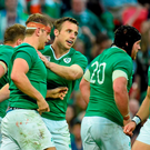 Ireland's Chris Henry is congratulated by team-mate Tommy Bowe after scoring his side's sixth try. 2015 Rugby World Cup, Pool D, Ireland v Romania, Wembley Stadium, Wembley, London, England. Picture credit: Stephen McCarthy / SPORTSFILE