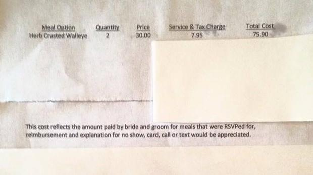 A bride sent a no-show guest a bill for the dinner she skipped. Picture: KARE 11/Facebook