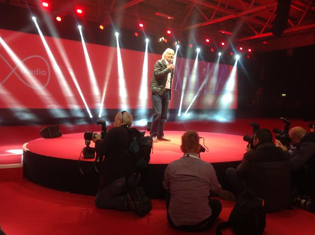 Richard Branson speaking at the UPC rebranding