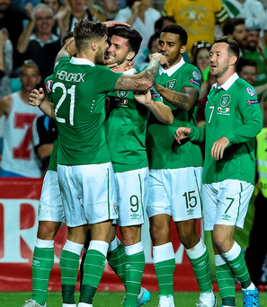 Shane Long, second from left, Republic of Ireland, celebrates with team-mates after scoring his side's fourth goal. UEFA EURO 2016 Championship Qualifier, Group D, Gibraltar v Republic of Ireland.