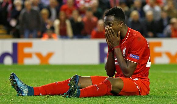 Liverpool's Divock Origi looks dejected after a missed chance Reuters / Phil Noble