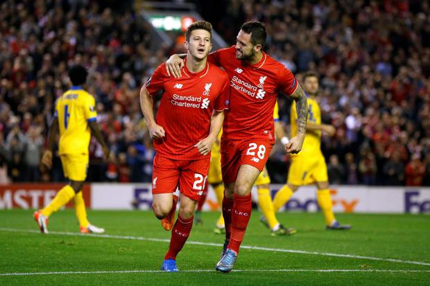 Adam Lallana celebrates with Danny Ings after scoring for Liverpool Reuters / Phil Noble