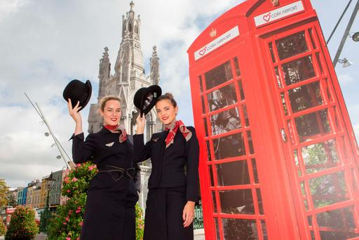 Pictured at the launch of CityJet's new Cork-London service were cabin crew membersEmma Cotter and Lisa Peters. Photo: Darragh Kane.