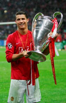 Cristiano Ronaldo with the Champions League trophy in 2008