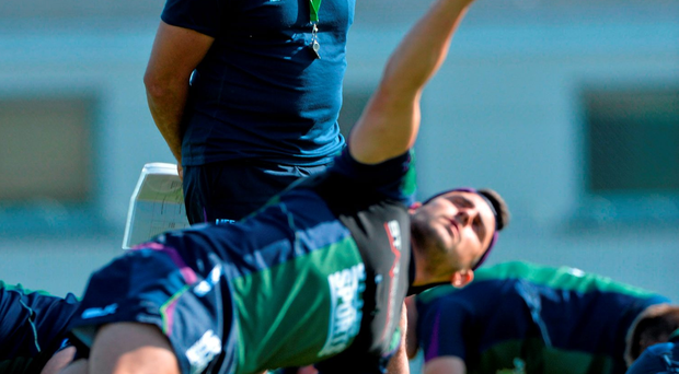 Connacht coach Pat Lam keeps a watchful eye on his players during training