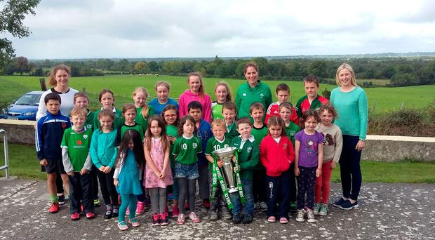 Ireland star Nora Stapleton visits Redwood NS with the Six Nations trophy