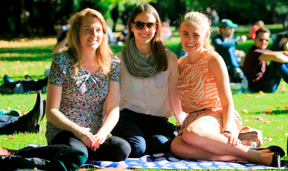 From left: Ciara Corkery, Christine Evans and Tara Rhatigan enjoying the good weather in Dublin
