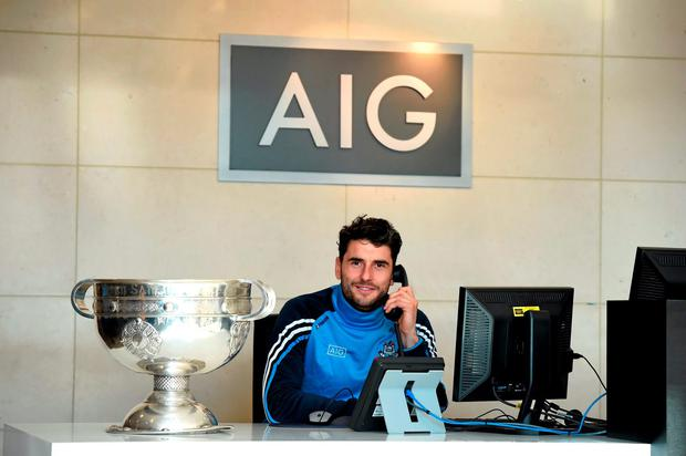Dublin players, including Bernard Brogan, pictured, were at AIG Insurance's offices in Dublin today for a reception to mark their GAA Football All-Ireland Championship success