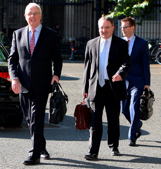 Nama chairman Frank Daly (left) and chief executive Brendan McDonagh at Leinster House yesterday Photo: Tom Burke